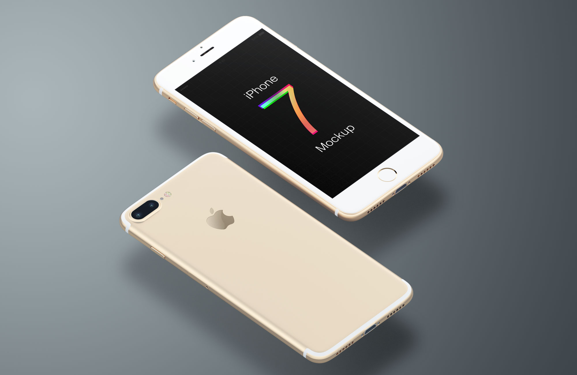 Free iPhone 7 mockup in five colors: gold, silver, gray, matte white & black.