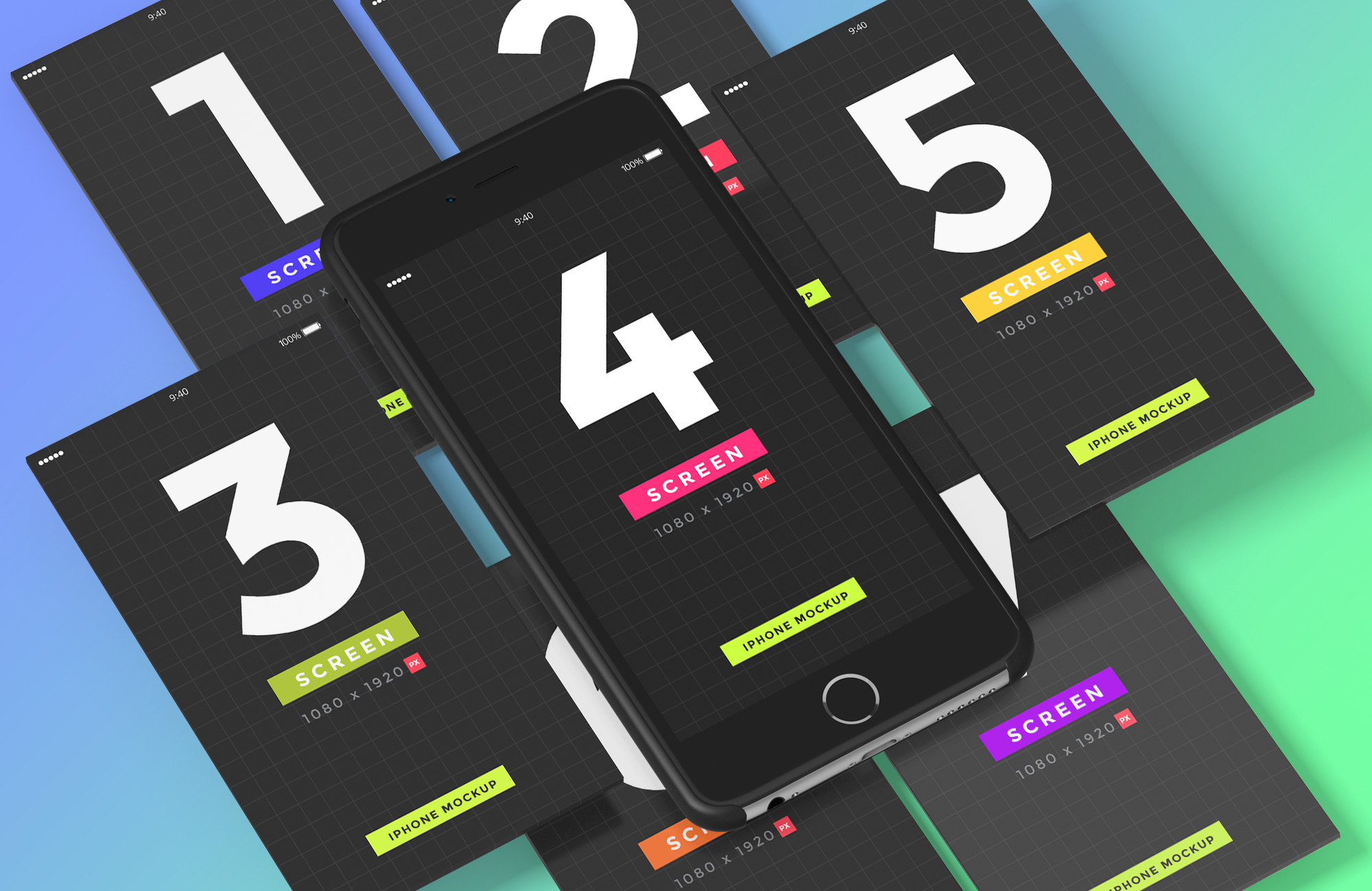 iPhone & Mobile Screens Mockups for Photoshop